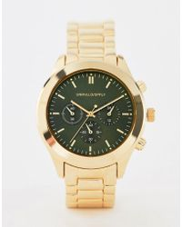 ASOS - Gold Plated Bracelet Watch With Contrast Olive Dial - Lyst