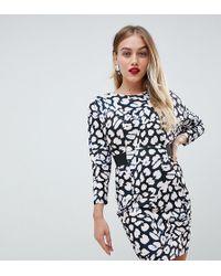 c024e9e609 ASOS - Mini Dress With Elastic Waist Detail In Leopard Print - Lyst