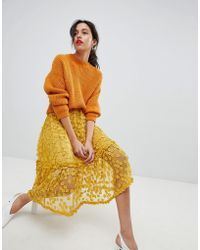 French Connection - Lace Applique Midi Skirt - Lyst