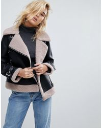 Urbancode - Bonded Aviator Coat With Trim Detail - Lyst