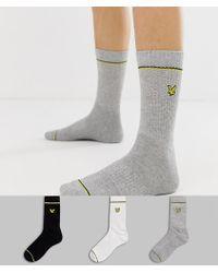 Lyle & Scott 3 Pack Logo Crew Socks