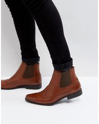 ASOS - Chelsea Boots In Tan Faux Leather With Brogue Detail - Lyst