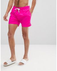 Tommy Hilfiger - Short Drawstring Flag Logo Swim Shorts In Bright Pink - Lyst