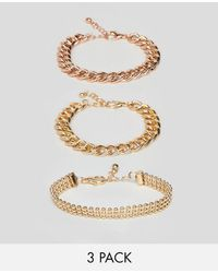 ASOS - Pack Of 3 Bracelets In Mixed Size Chain Design - Lyst