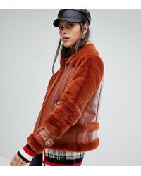River Island - Shearling Aviator Jacket In Rust - Lyst