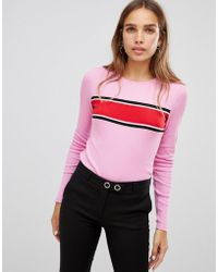 New Look - Chest Stripe Long Sleeve Top - Lyst