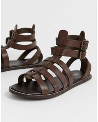 c22347b72b73 ASOS - Gladiator Sandals In Brown Leather - Lyst