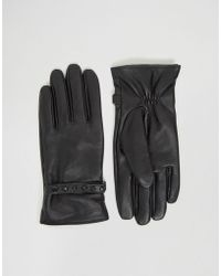 ASOS - Leather Gloves With Studding In Black - Lyst