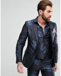 Rudie - Navy Floral Print Skinny Fit Suit Jacket - Lyst