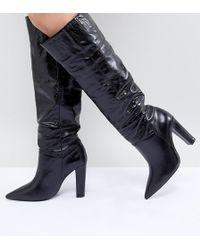 3fbca73031b Lyst - Mango Knee High Biker Boots in Black