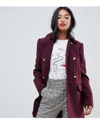 Miss Selfridge - Swing Coat In Burgundy - Lyst