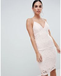 AX Paris | Contrast Pink Lace Bodycon Dress With Plunge Front | Lyst