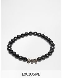 Simon Carter - Onyx Beaded Bracelet With Antiqued Skulls Exclusive To Asos - Lyst