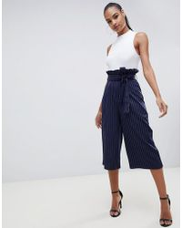Missguided - Paper Waist Culottes In Navy Pinstripe - Lyst