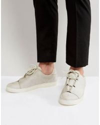ASOS - Sneakers In Faux Gray Suede With Lace Loop Detail - Lyst