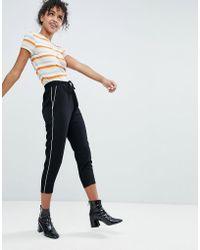 Monki - Side Stripe Peg Leg Trousers - Lyst