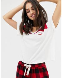 Hollister - Red Colour Block Pyjama Top - Lyst