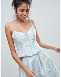 Oasis - Floral Print Jacquard Button Down Cami Top - Lyst