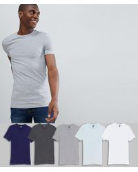 ASOS - Muscle Fit T-shirt With Crew Neck 5 Pack Save - Lyst