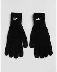 PUMA - Knit Gloves In Black 04131604 - Lyst