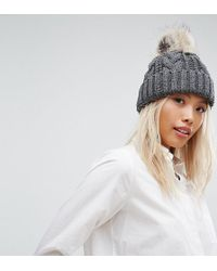Stitch & Pieces - Cable Pom Beanie In Grey - Lyst