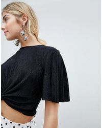 New Look - Crinkle Knot Front Crop Top - Lyst