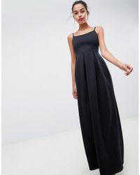 ASOS - Scuba Scoop Neck Maxi Prom Dress - Lyst