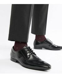 Dune - Wide Fit Lace Up Derby Shoes In Black High Shine - Lyst