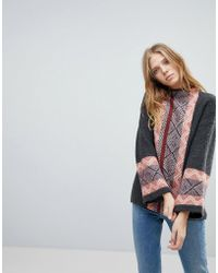 Vila - Geo- Trim High Neck Sweater - Lyst