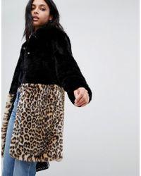 Barneys Originals - Leopard Print Colour Block Faux Fur Coat - Lyst