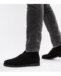 ASOS - Wide Fit Desert Boots In Black Suede - Lyst