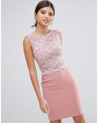 Girls On Film - Midi Dress With Lace Top - Lyst