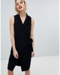 Paisie | Tuxedo Dress With Side Tie | Lyst