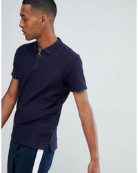 SELECTED - 1/4 Zip Polo Shirt - Lyst