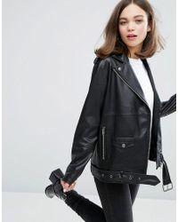 Monki - Faux Leather Biker Jacket - Lyst