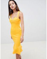 ASOS - Design Square Neck Fold Front Midi Dress With Pephem - Lyst