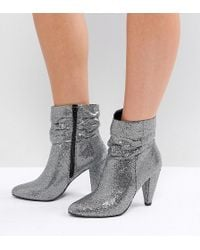 New Look - Wide Fit Silver Glitter Boots - Lyst