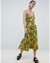 ASOS - Animal Print Pephem Midi Slip Dress - Lyst