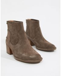 UGG - Bandara Taupe Suede Heeled Ankle Boots - Lyst