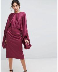 ASOS - Extreme Sleeve Satin Midi Pencil Dress - Lyst