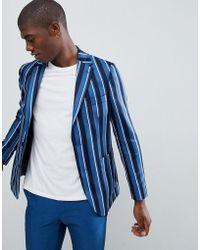 Moss Bros - Moss London Skinny Blazer In Boat Stripe - Lyst