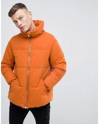 Pull&Bear - Puffer Jacket In Orange - Lyst
