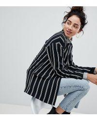 Monki - Tailored Popper Detail Stripe Blazer - Lyst