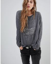 Blend She - Bernie Printed Burnout Long Sleeved T-shirt - Lyst