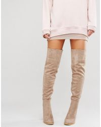 Daisy Street - Taupe Heeled Over The Knee Boots - Lyst