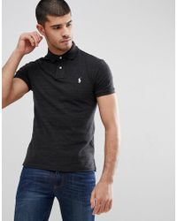 Polo Ralph Lauren - Slim Fit Pique Polo In Washed Black Marl - Lyst