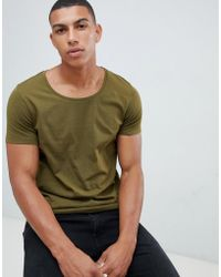 789822019f71 ASOS Tshirt with Bound Scoop Neck in Yellow for Men - Lyst