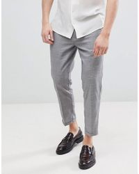 Pull&Bear - Tailored Trousers In Grey Check - Lyst