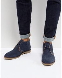 Dune - Perforated Desert Boots In Navy Suede - Lyst