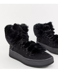 Bershka - Faux Fur Lined Boot - Lyst